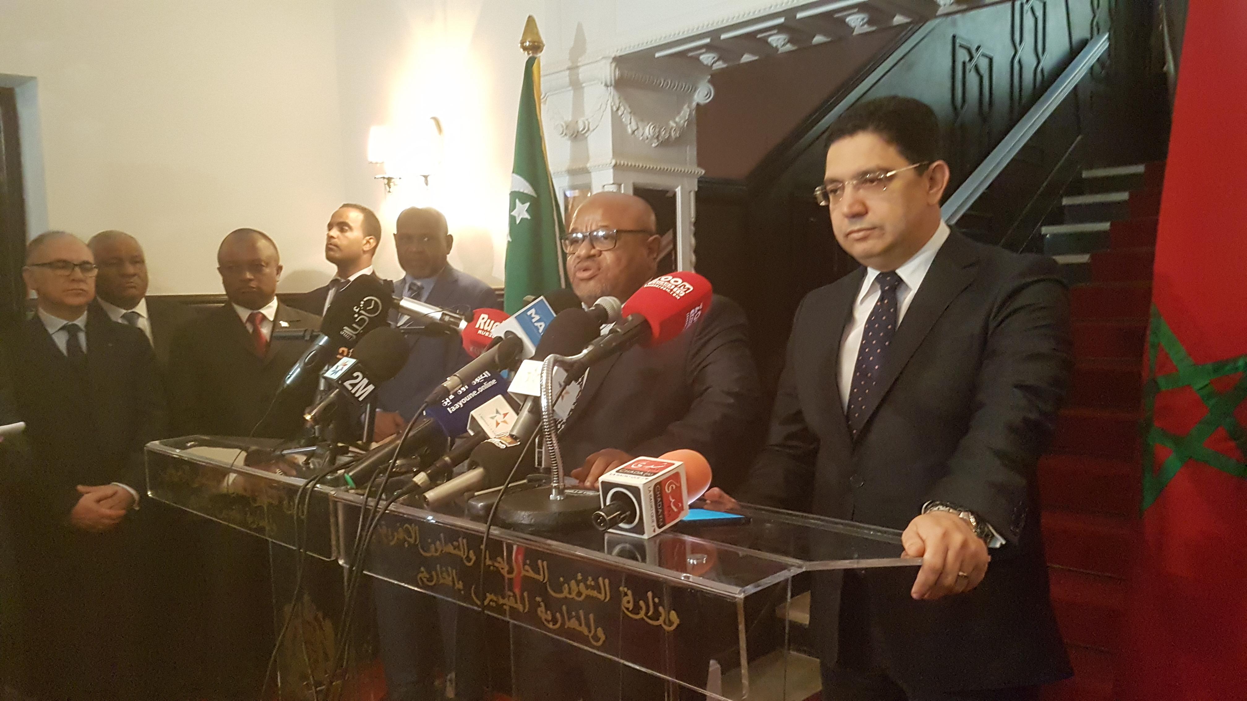 بالفيديو…اللقاء الصحفي لوزير الخارجية المغربي ووزير جزر القمر بالعيون